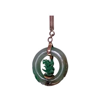 Jadeite Jade Circle Pendant in 14K