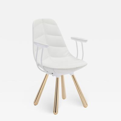 Jaime Hayon SH440 chair with arms gold white leather leaf