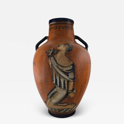 Jais Nielsen Colossal floor vase with handles in glazed ceramics