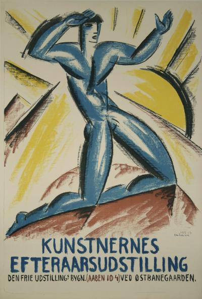Jais Nielsen Danish Stone Lithograph Art Exhibition Poster by Jais Nielsen 1917