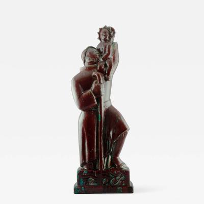 Jais Nielsen St Christopher Oxblood Sculpture by Jais Nielsen for Royal Copenhagen