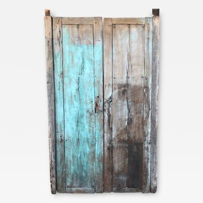 Jalisco Hacienda Old Rustic Door with Green in Solid Mesquite Wood Mexico 1920s