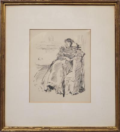 James Abbott McNeill Whistler Woman In A Red Dress a Lithograph by James Abbott McNeill Whistler circa 1894