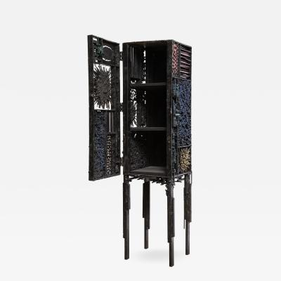James Anthony Bearden James Bearden Segment Cabinet in Polychromed and Bronzed Steel