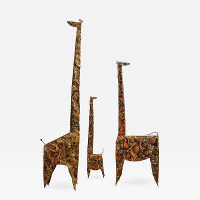 James Anthony Bearden James Bearden Trio of Brutalist Giraffe Sculptures Animal Series