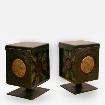 James Anthony Bearden Pair of Rising Sun Stools 2014
