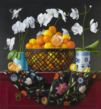 James Aponovich Still Life with Oranges in a Basket