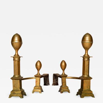 James Davis Pair of Brass Lemon Top Andirons