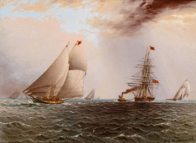 James Edward Buttersworth Gale Warning the Schooner ARIEL