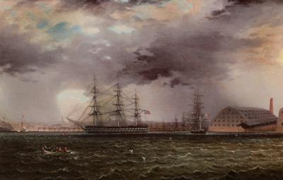 James Edward Buttersworth Old Brooklyn Navy Yard East River New York