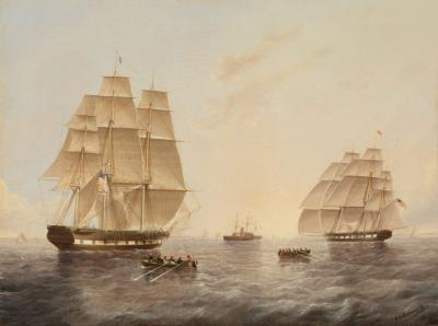 James Edward Buttersworth Square Riggers Leaving New York Harbor by James E Buttersworth