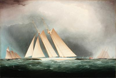 James Edward Buttersworth The Schooner Yacht Magic Rounding Sandy Hook