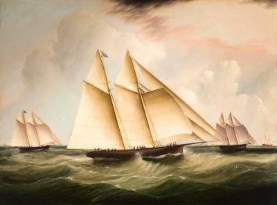 James Edward Buttersworth The Start of the Great 1866 Transatlantic Yacht Race