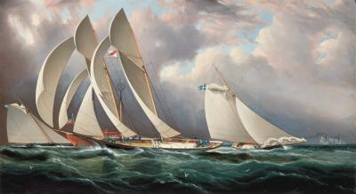 James Edward Buttersworth Yacht Racing Off Sandy Hook NYYC Ragatta June 14 1877 by JE Buttersworth