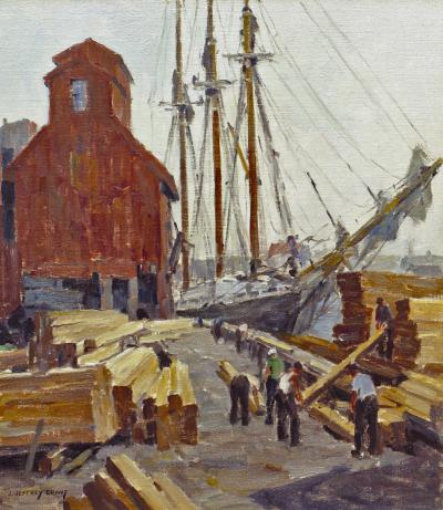 James Jeffrey Grant Unloading Lumber Gloucester Harbor