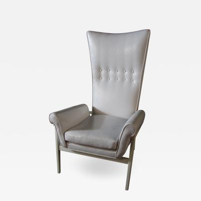 James Mont American Modern High Back Button Tufted White Lacquer Lounge Chair James Mont