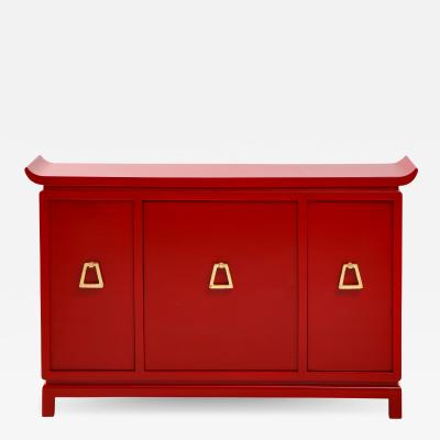 James Mont Beautiful Red Lacquered Cabinet by James Mont