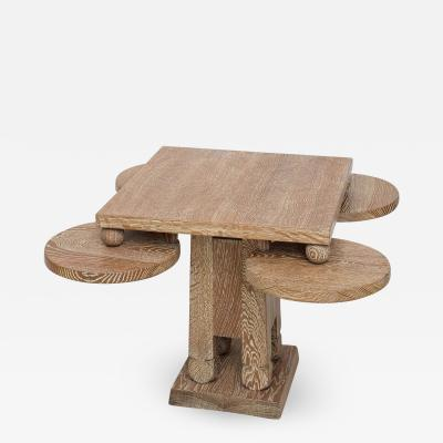 James Mont Fine Cerused Oak Occasional Table of Unusual Form