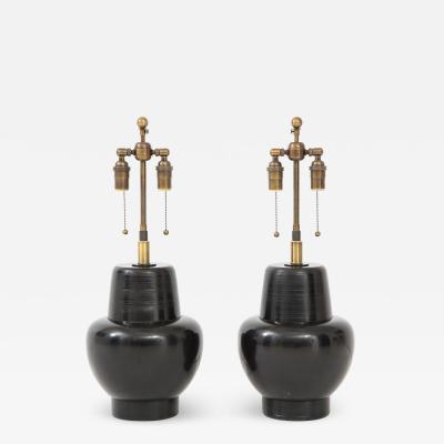 James Mont Great Pair of 1950 s Wooden Lamps by James Mont