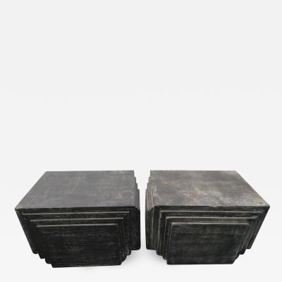 James Mont Handsome Pair of James Mont Style Stacked Pyramid Cerused End Tables