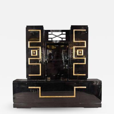 James Mont Important and Stunning Custom Cabinet in Black Lacquer Gilt by James Mont