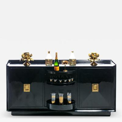 James Mont James Mont Attributed Black Lacquered Sideboard or Bar Cabinet circa 1940s
