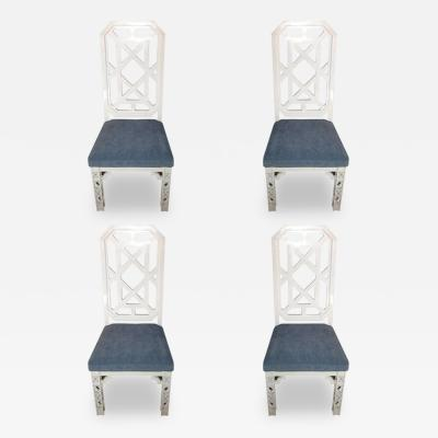 James Mont James Mont Attributed Set of 4 Chairs White Lacquer