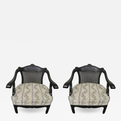 James Mont Lovely Pair of Caned Chinoiserie Asian Style Armchairs Hollywood Regency