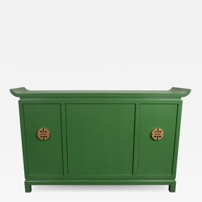 James Mont Midcentury Modern Kelly Green Dry Bar Sideboard w Gilt Pulls Signed James Mont