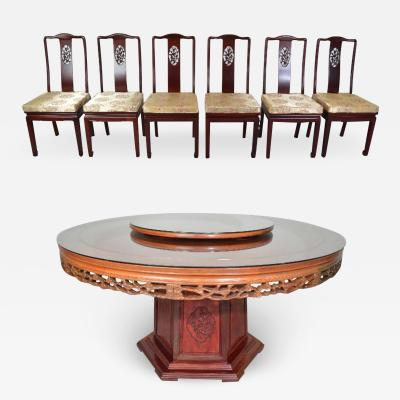James Mont Ming Style Traditional Chinese 8 Piece Honey Rosewood Dining Set Hand Carved