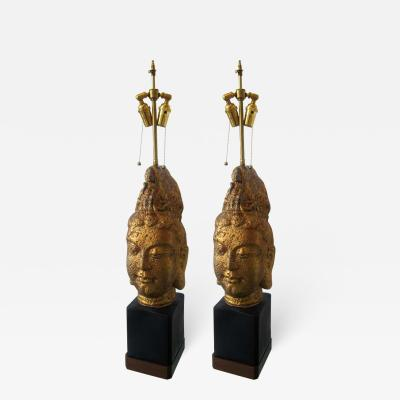 James Mont PAIR OF JAMES MONT STYLE BUDDHA HEAD LAMPS by James Mont