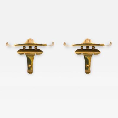 James Mont Pair of Brass Wall Brackets