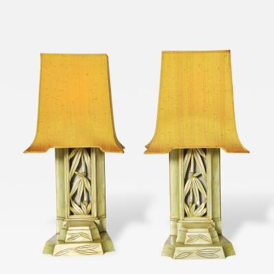 James Mont Pair of Carved Table Lamps by James Mont