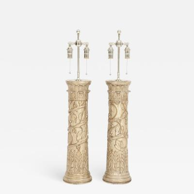 James Mont Pair of Carved Wooden Lamps by James Mont