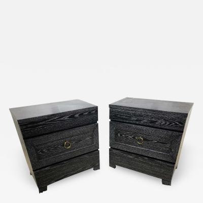 James Mont Pair of Elegant James Mont Cerused Custom Cabinet Nightstand Chests