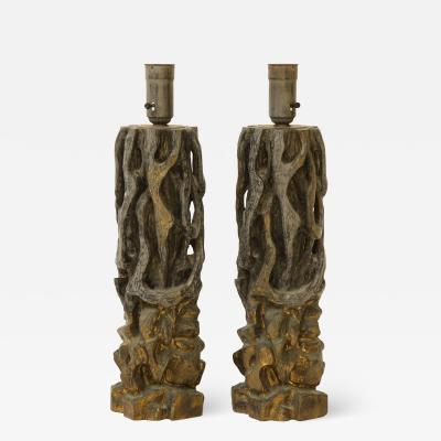 James Mont Pair of James Mont Carved Wooden Lamps
