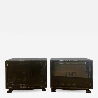 James Mont Pair of Modernist Asian Inspired Ebony Bachelor Chests in James Mont Style