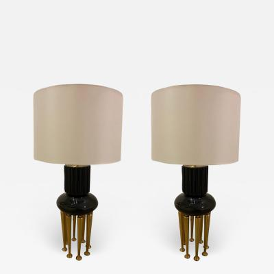 James Mont Pair of Rare James Mont Large Stable Lamps 1950 American Important