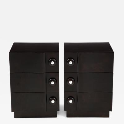 James Mont Rare Pair of Wave Front Cabinets Nightstands by James Mont