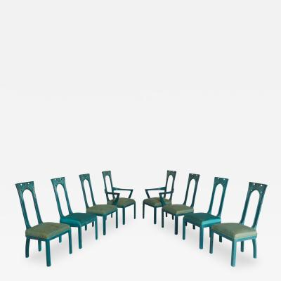 James Mont Set of Eight Carved Green Blue Dining Chairs by James Mont 1940 Rare