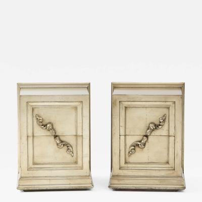 James Mont Spectacular Pair of Rare James Mont Scroll cabinets