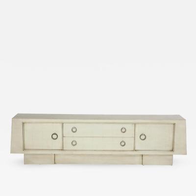 James Mont Spectacular Silver Leaf Cabinet by James Mont