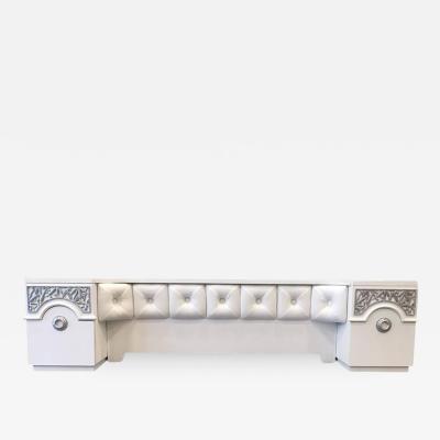 James Mont Style 1940s Headboard with Integrated Nightstands