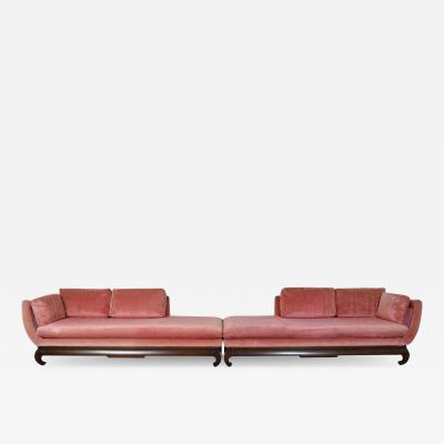James Mont Superb Ming James Mont Style Scroll Sides Chow Leg Sectional Sofa