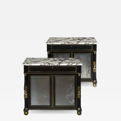 James Newton Pair of Regency Black Lacquer Marble Top Pier Cabinets
