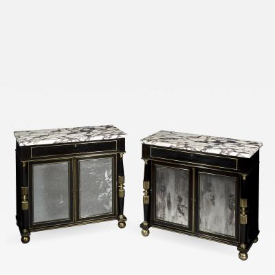 James Newton Pair of Regency Ebonised Marble Top Side Cabinets