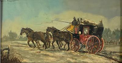 James Pollard HORSE DRAWN STAGECOACH PAINTING SIGNED BY JAMES POLLARD