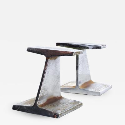 James Prestini Mid Century Modern Chrome Bookends by Kaiser Steel I Beam Railroad Iron