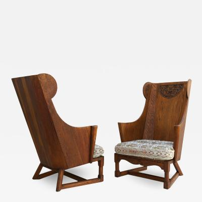 Jamestown Lounge Co Antique Pair of Carved Oak Lounge Wingback Chairs Jamestown Lounge Co