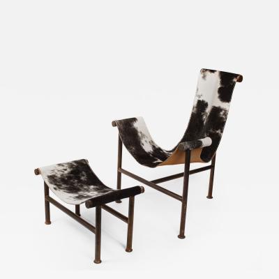 Jan Barboglio Jan Barboglio Sling Chair and Ottoman in Cowhide Patinated Steel Texas Artist